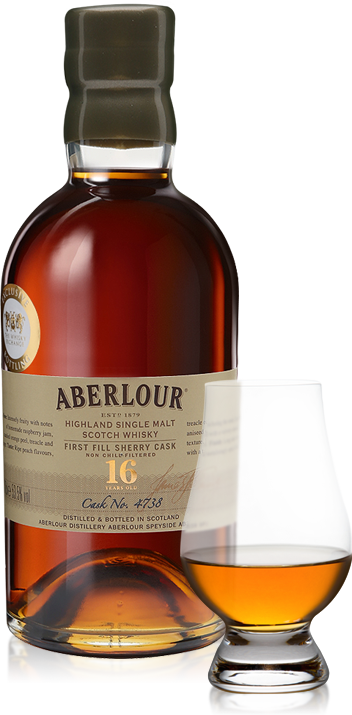 Aberlour 16 Years Old Single First-fill Sherry Cask with glass