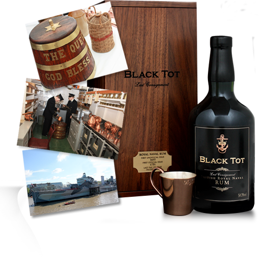Black Tot bottle and box
