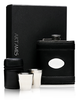 Black Leather Hip Flask With Engraving Plate & 4 Cups