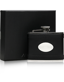 Black Lambskin Stainless Steel Flask & Engraving Plate/110ml