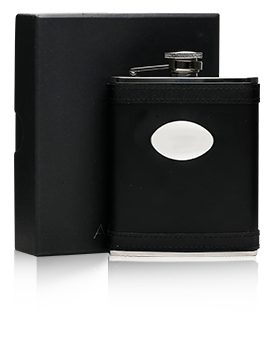 Black Lambskin Stainless Steel Flask & Engraving Plate/170ml Presentation