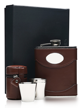 Brown Leather Hip Flask With Engraving Plate & 4 Cups Presentation