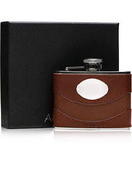 Brown Leather & Steel Hip Flask with Engraving Plate / 110ml Presentation
