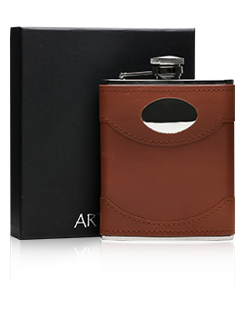 Brown Leather & Steel Hip Flask with Engraving Plate / 170ml Presentation