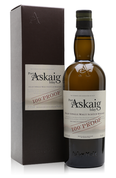 Port Askaig 100° Proof bottle with gift box