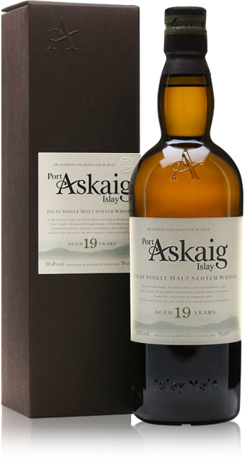 Port Askaig 19 Year Old bottle with gift box
