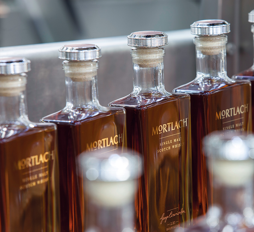 Mortlach whisky bottles