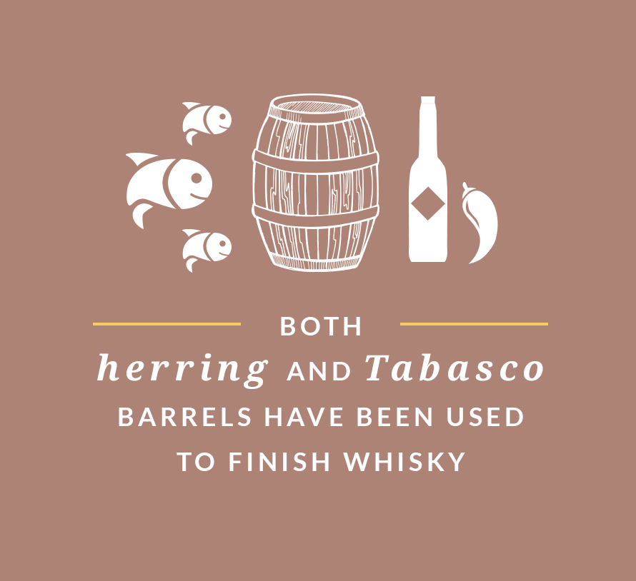 Both herring and Tabasco barrels have been used to finish whisky