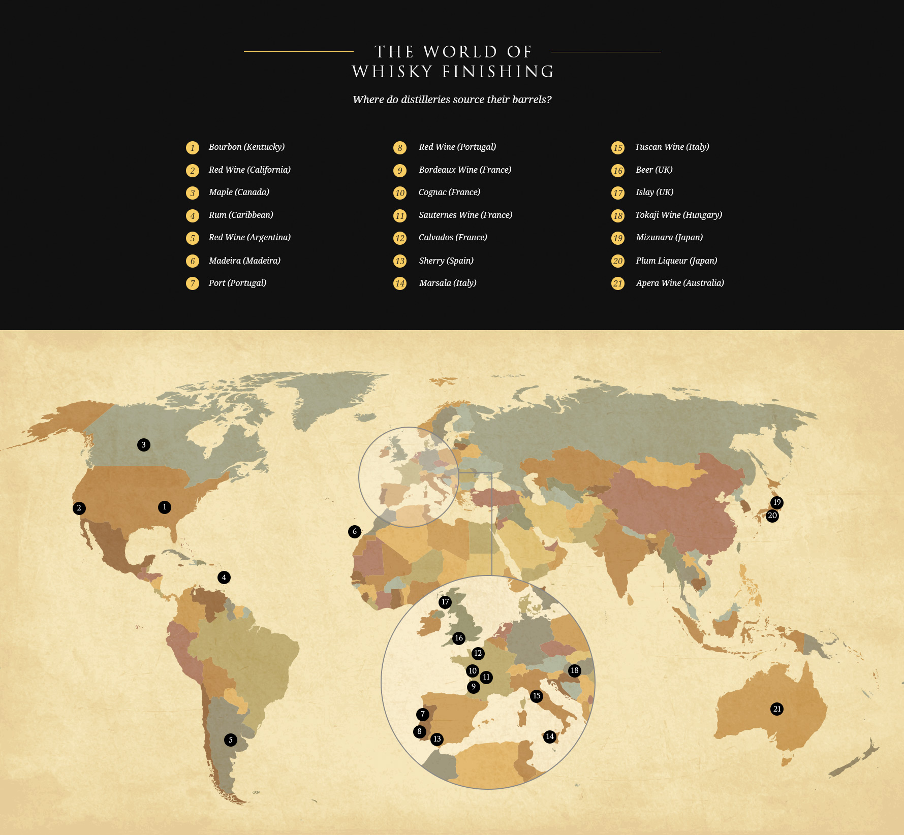 Map showing where whisky distilleries source their barrels