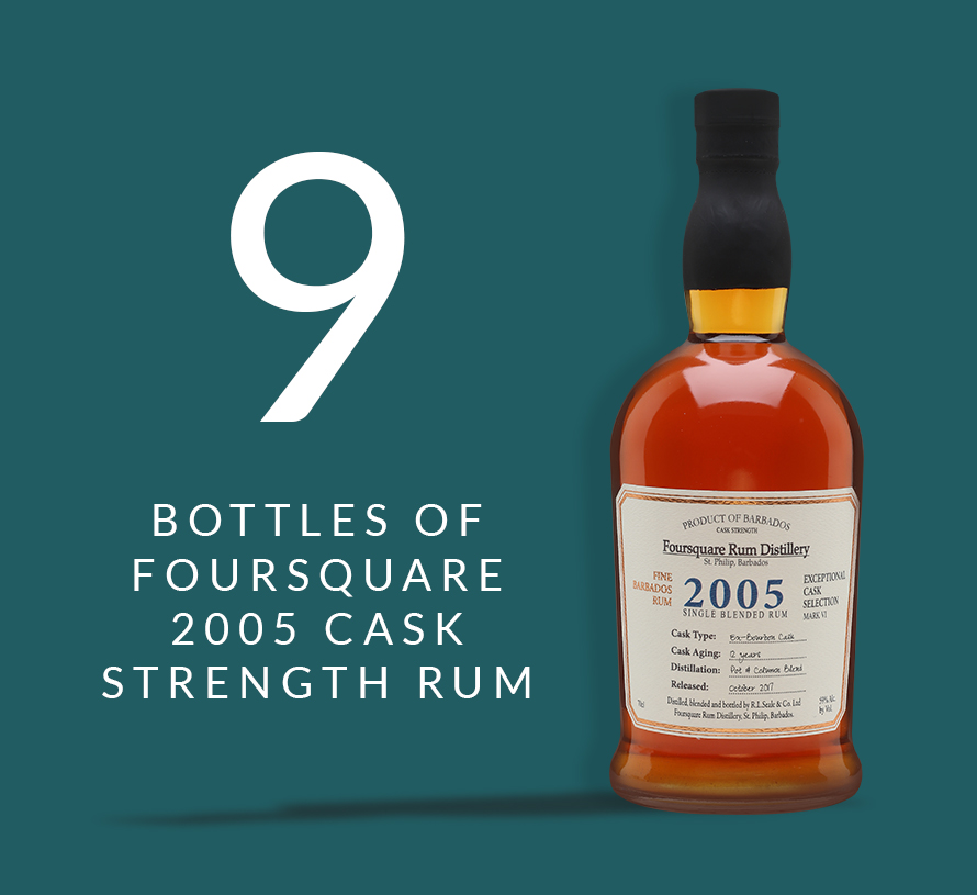 9 bottles of Foursquare 2005 Cask Strength Rum
