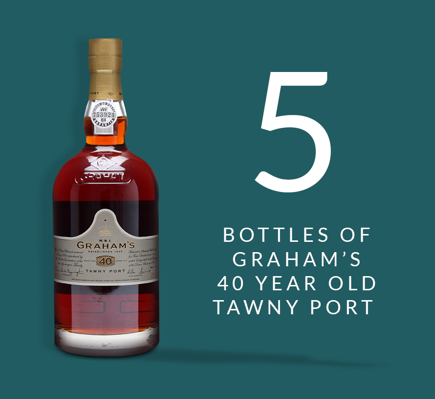 5 bottles of Graham's 40 Year Old Tawny Port
