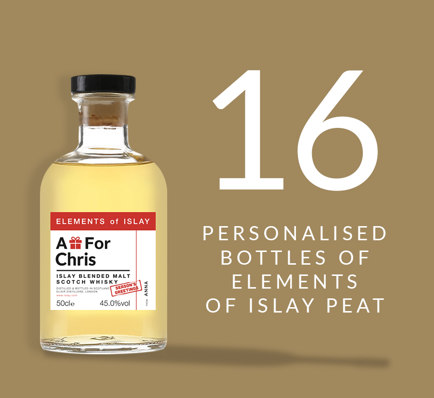 16 personalised bottles of Elements of Islay Peat