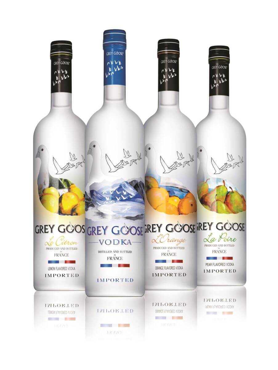 The stylish and recognisable Grey Goose bottle