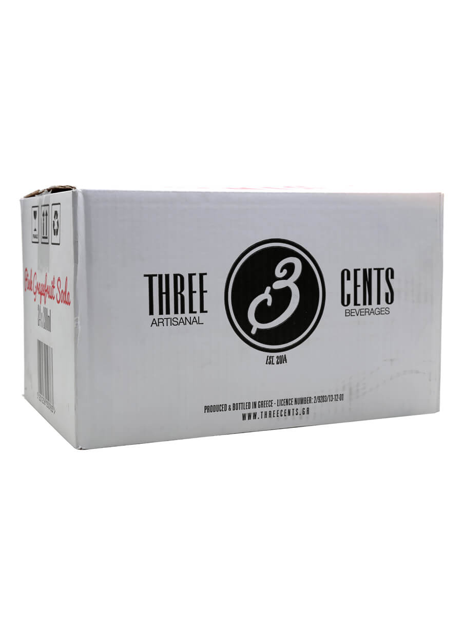 Three Cents Pink Grapefruit Soda / Case of 24 Bottles