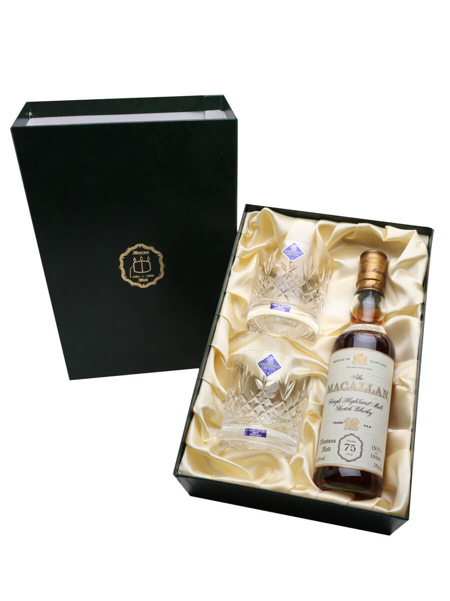 Macallan 12 Year Old & 2 Glasses / Muntons 75th Anniversary