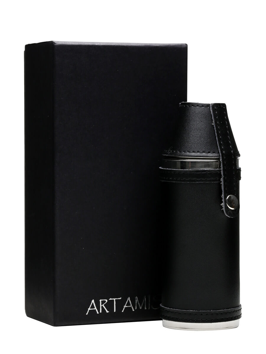 Black Leather Hunting Hip Flask & 2 Cups / 225ml